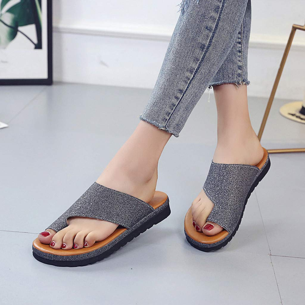 Peigen Womens Flat Shoes Slippers Sandals,Roman Open Toe Ankle Beach Shoes,Basic Slip-on Casual Fashion Sandal Shoes,PU Rubber Material
