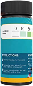 BNS Water Total Chlorine Test Strips 0 - 200 ppm Range. Perfect for Testing Restaurant Chlorine Sanitizers in 3 Part Sinks. 100 strips.