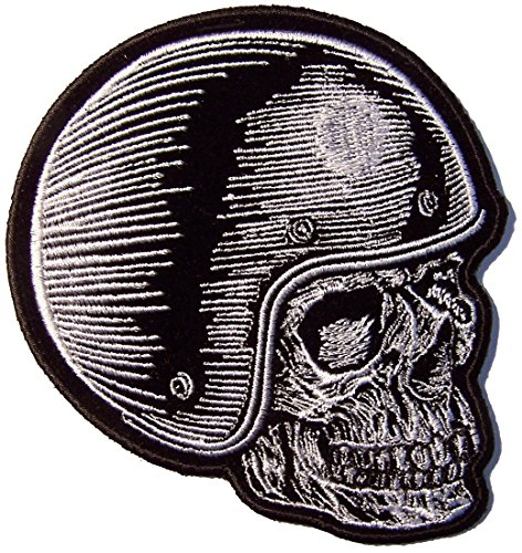 Facing Right SKULL RIDER HELMET Novelty Embroidered 4 Inch Jacket Patch - Iron on Backing or Sew On (Rider Helmet Novelty)