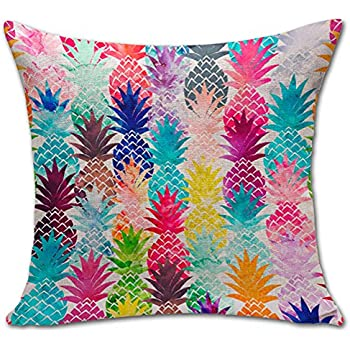 Pineapple Throw Pillow Cover Sham Office Chair Seat Back Cushion Slipover ChezMax Cotton Linen Pillowslip Square Pillowcase For Unisex Women Men