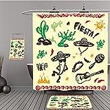 Uhoo Bathroom Suits & Shower Curtains Floor Mats And Bath Towels 322378007 Hand drawn set of mexican symbols guitar, sombrero, taco, skull, music instruments. Vector. For Bathroom