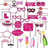 Bachelorette Party Paper Straws Photo Booth Props Kit Girls Night Out Games Hen Party Supplies Decoration Dress Up Accessories for Wedding Bridal Shower, set of 33