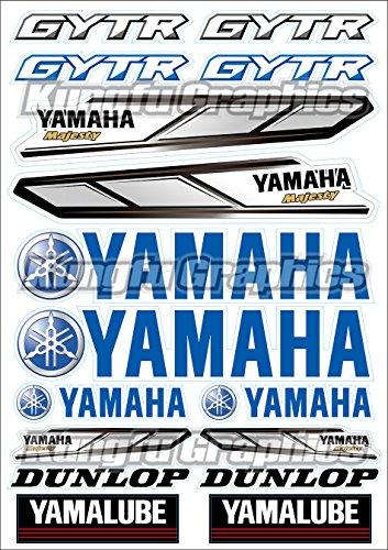(Kungfu Graphics Yamaha Dunlop GYTR Micro Sponsor Logo Racing Sticker Sheet Universal (7.2x 10.2 inch), Blue)
