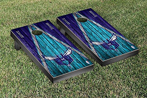 Charlotte Hornets NBA Basketball Regulation Cornhole Game Set Triangle Weathered Version by Victory Tailgate