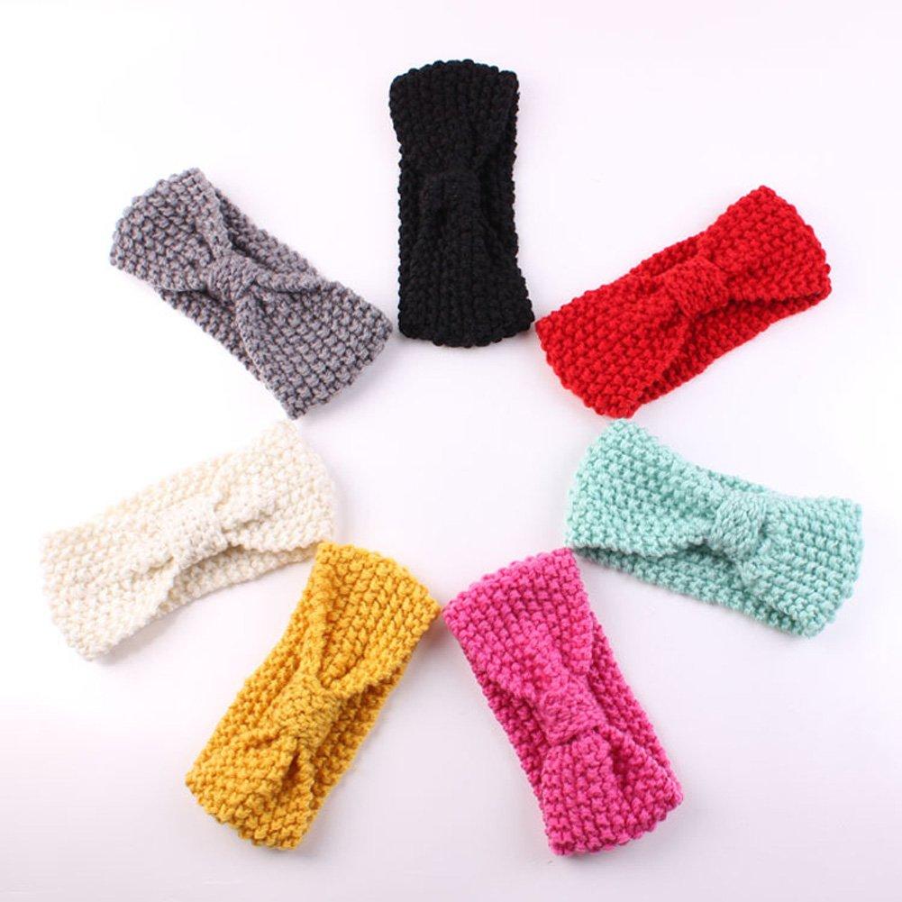 Silveroneuk 7pcs bebé niños invierno caliente diadema turbante lana ...