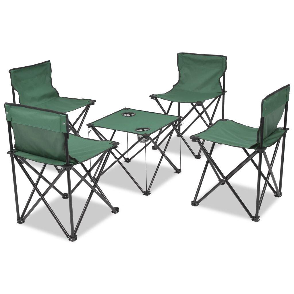 XuzhEU 5 Teiliges Set von Möbel Camping Klappstuhl Grün 45 x 45 x 70 cm