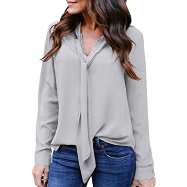 7371f20bcd4 Kangma Women Solid Long Sleeved V-Neck Casual Tie Chiffon Business Shirt  Top Blouse Gray at Amazon Women s Clothing store
