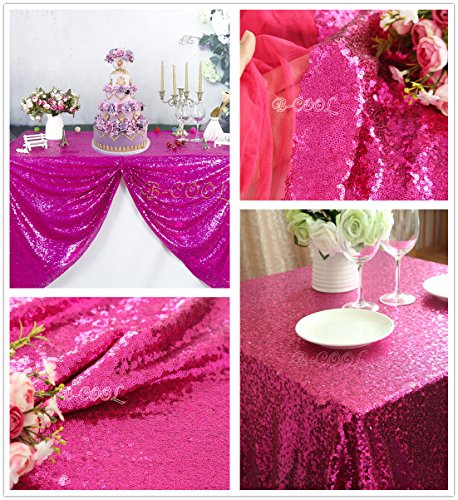 - B-COOL 50X50-inch Square Fuchsia Sequin Tablecloth Sequin Table Linens Glitter Tablecloth Wedding Sequin Tablecloth