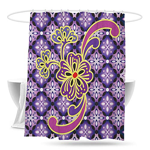 yishangjiajushanghang Custom Shower Curtain Batik Macro Flower Petals on Foreground Chained Bound Ethnic Shapes Batik Graphic Design Fashionable Pattern W59×L70 Purple Yellow