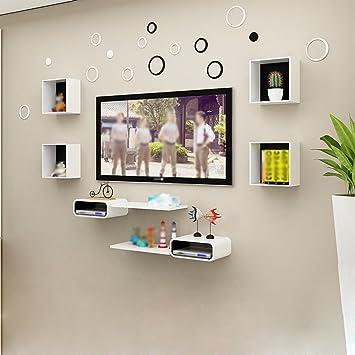 Estantes de pared de julio Muro Conjunto Top Caja estantes Dormitorio decoración Marco Creativo celosía Sala de Estar: Amazon.es: Hogar