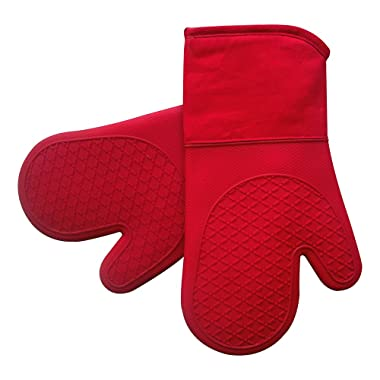 Heat Resistant Silicone Shell Kitchen Oven Mitts for 500 Degrees with waterproof, Set of 2 Oven Gloves with cotton lining for BBQ Cooking set Baking Grilling Barbecue Microwave Machine Washable Red