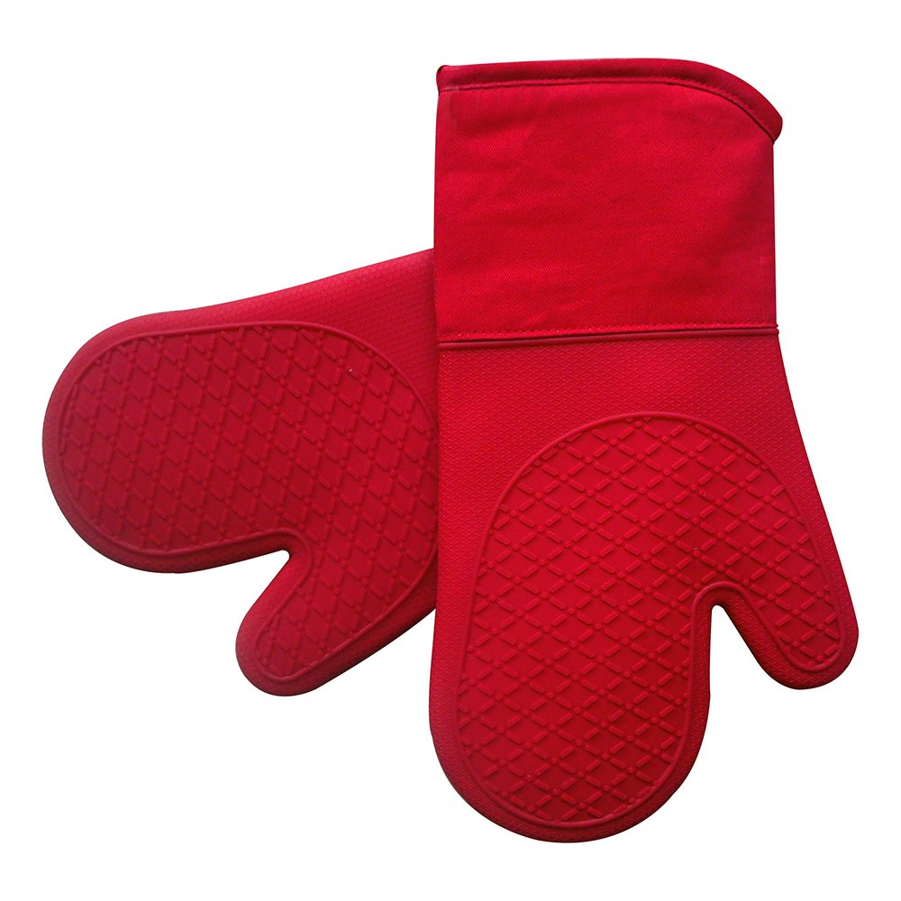 Heat Resistant Silicone Shell Kitchen Oven Mitts for 500 Degrees with waterproof, Set of 2 Oven Gloves with cotton lining for BBQ Cooking set Baking Grilling Barbecue Microwave Machine Washable Red by EnjoyLife Inc
