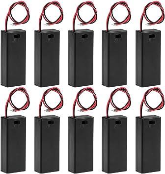 sourcing map Caja Estuche Soporte de Almacenamiento de batería Que Lleva Interruptor Encendido/Apagado para batería con Tapa de 3V 2 baterías AAA de 1. 5 10 Piezas: Amazon.es: Electrónica
