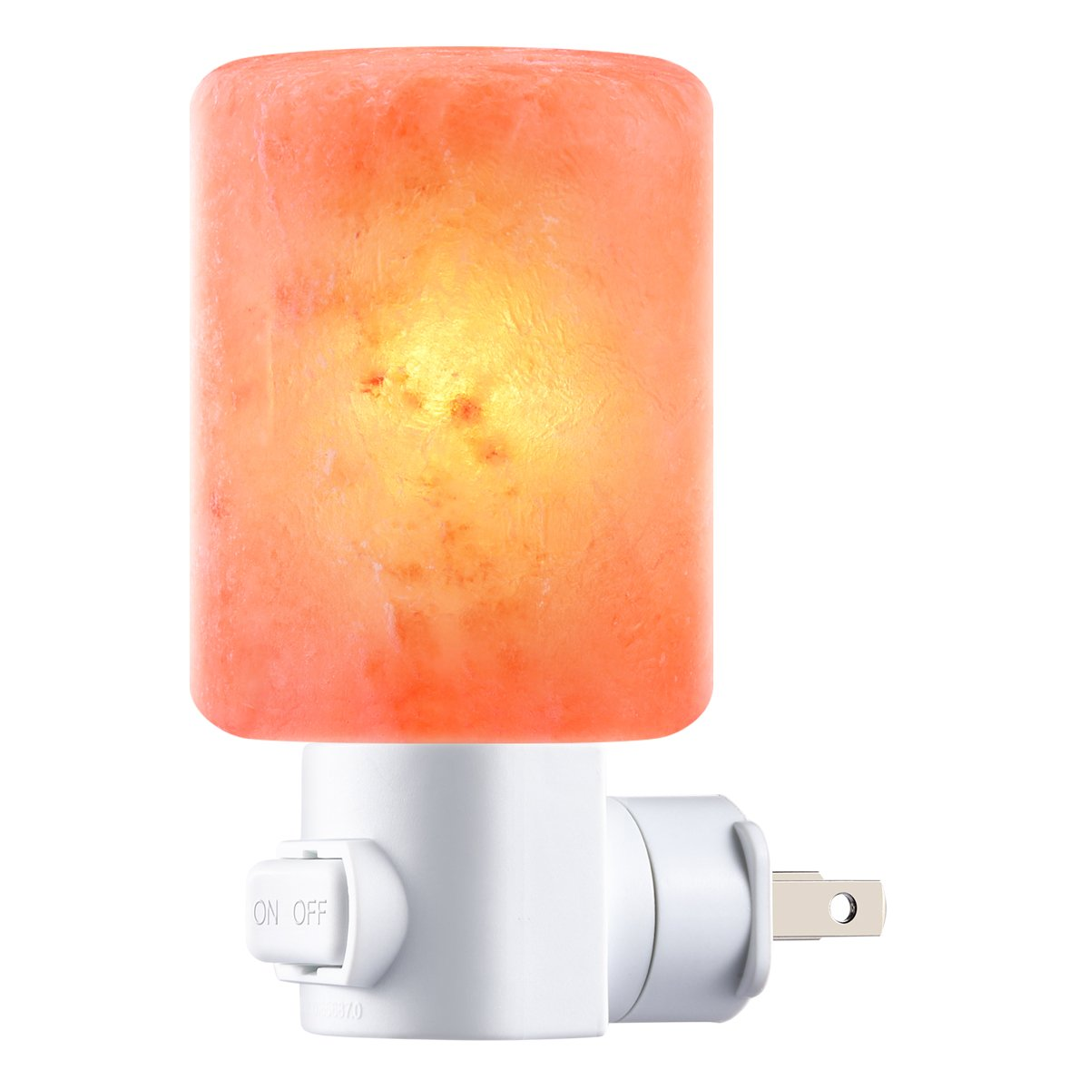 AMIR Salt Lamp, Natural Himalayan Crystal Salt Light with 2 Bulbs (1 Colorful Bulb), 11.2 Ounces Mini Hand Carved Night Light with UL-Approved Wall Plug for Air Purifying, Lighting and Decoration