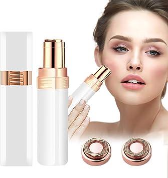 JYPS Depiladora Facial Mujer, Eléctrico Depilar para Sin dolor Afeitadora Mujer Afeitado Portátil para Vello Facial Con Cabezal de Repuesto, Cepillo de Limpieza y Luz (Blanco): Amazon.es: Salud y cuidado personal