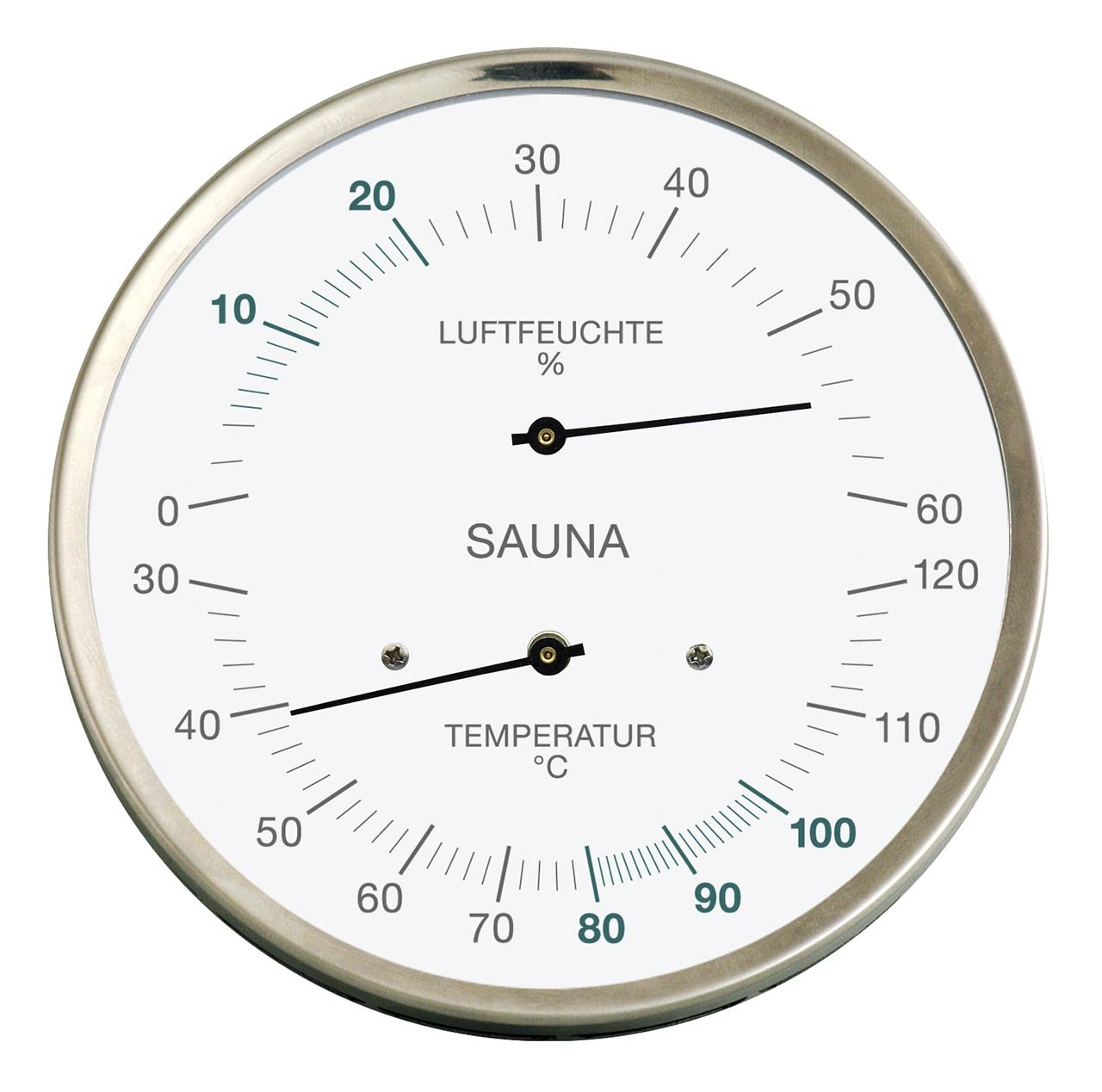Sauna-Thermohygrometer, Edelstahlgehäuse, Ø 130 mm Feingerätebau K. Fischer GmbH