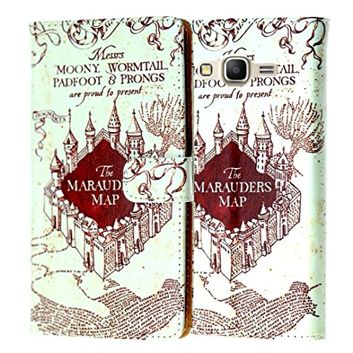 J3 Wallet Case, Express Prime Case, Amp Prime Case, DURARMOR® Harry Potter Hogwarts Marauders Map PU Leather Folio (Harry Potter Cell Phone Case)