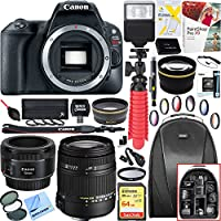 Canon 2249C001 EOS Rebel SL2 24MP DSLR Camera (Black, Body Only) + 18-250mm F3.5-6.3 DC OS HSM Macro + EF 50mm f/1.8 STM Prime Lens + 64GB Deluxe Bundle
