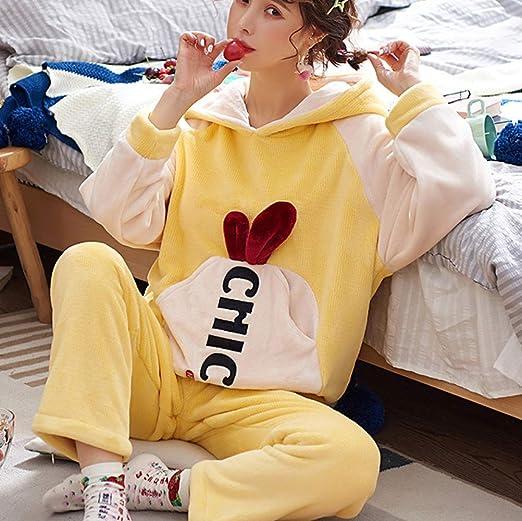 WWF Sra. OtoñO E Invierno Pijamas Pareja Coral Velvet Plus Warm ...