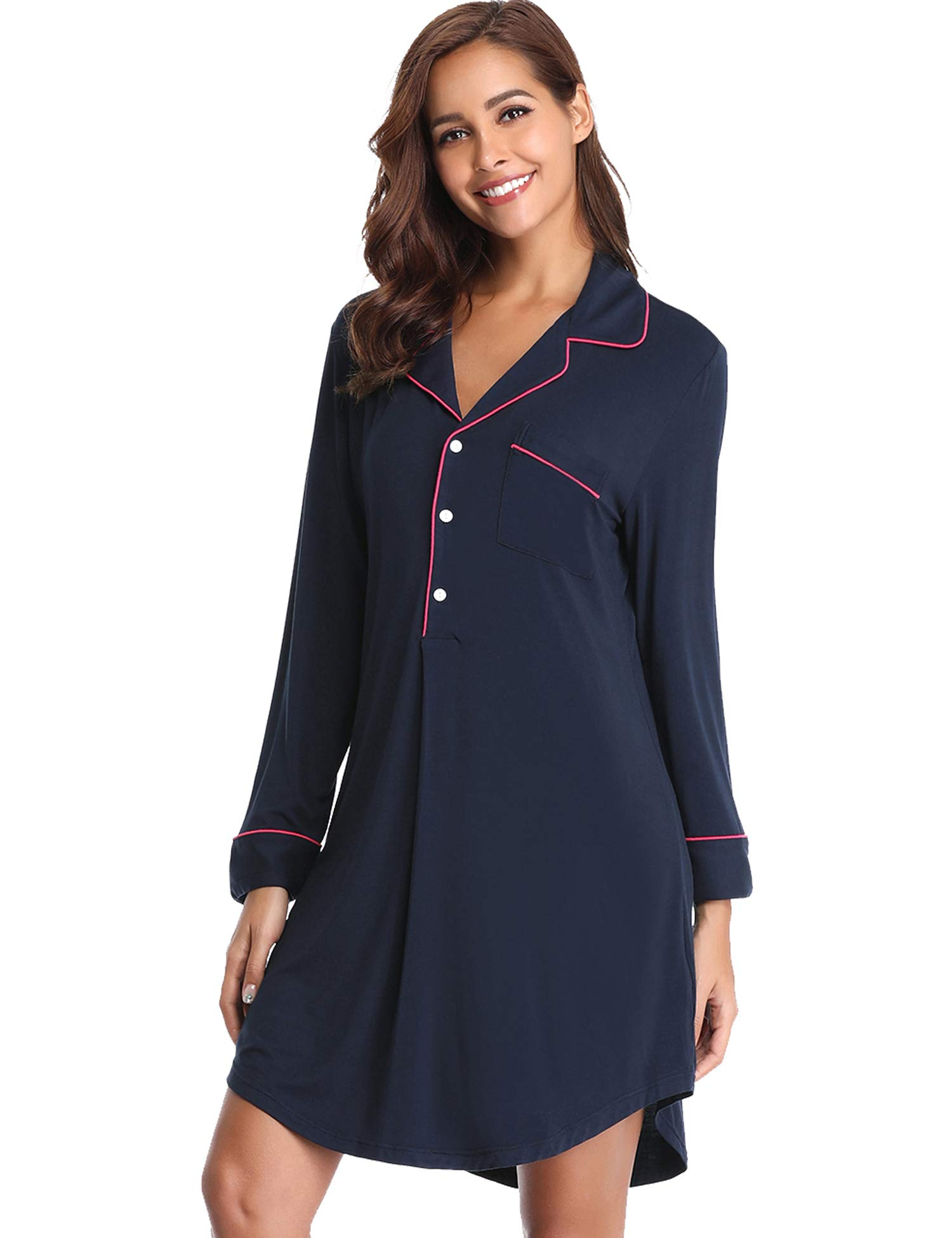 Lusofie Long Sleeve Nightgown Women Button-up Nightshirt Lapel Pajama Dress (Navy Blue,L)