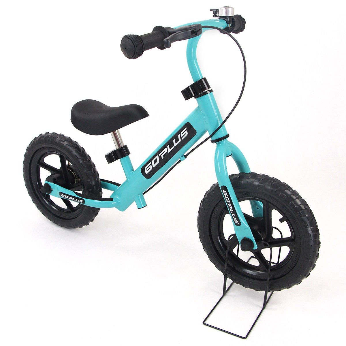 Goplus 12'' Kids Balance Bike No-Pedal Learn To Ride Pre Bike Push Walking Bicycle Adjustable Height with Bell Ring and Stand (Navy)