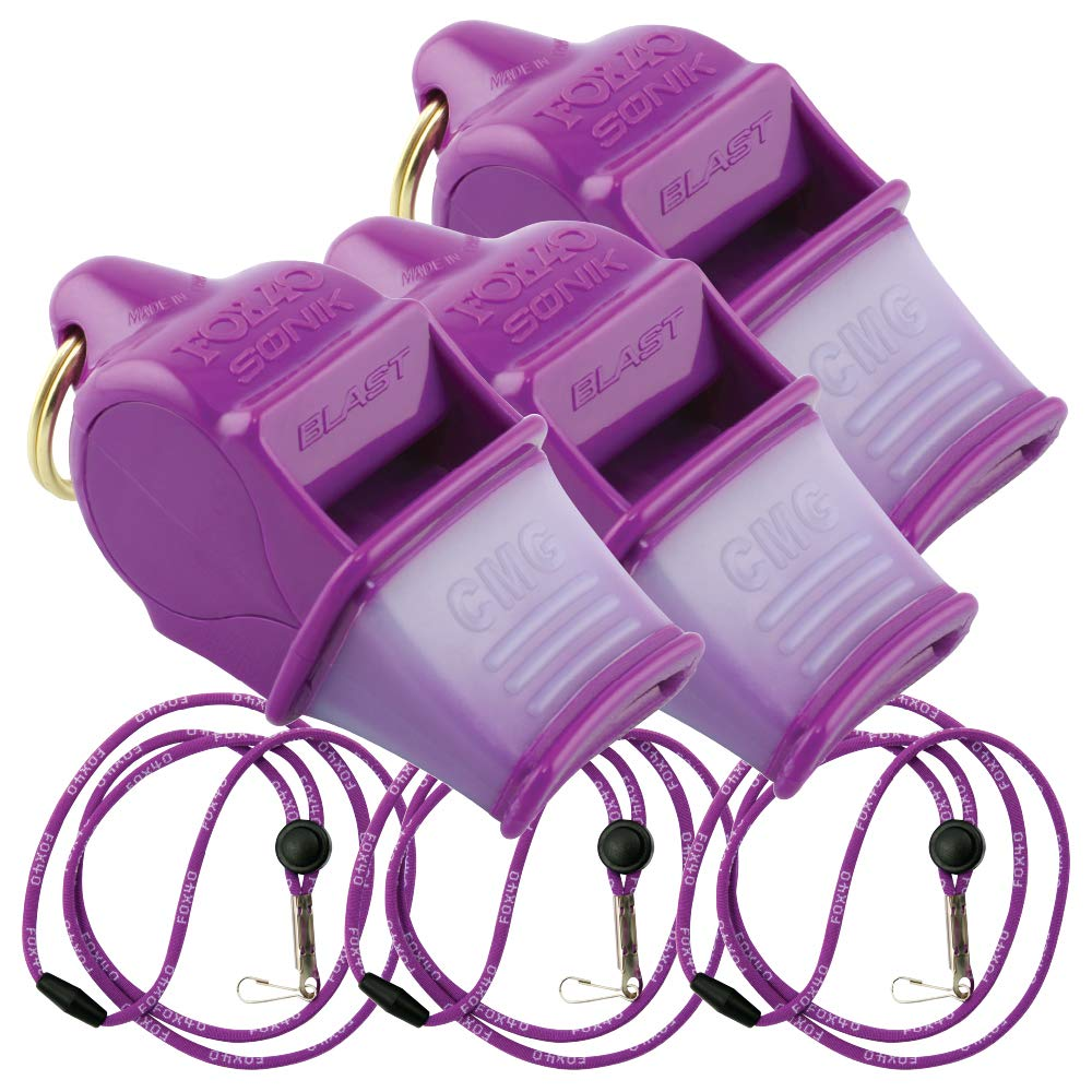Fox 40 Sonik Blast CMG w/Breakaway Lanyard 3 Pack (Purple) by Fox 40