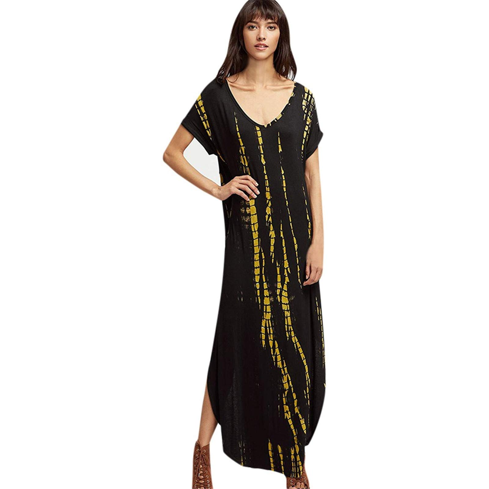 BAOHOKE Fashion Tie-Dye Print Short Sleeve Low Cut Maxi Dresses,Casual V Neck Slit Pocket Long Women's Dress(Black,L)