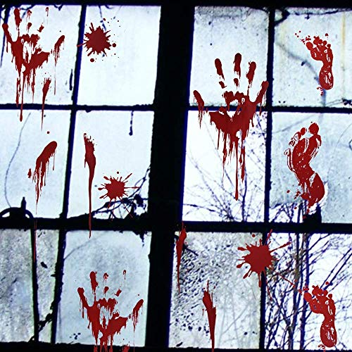 vanow 8 Sheets Horror Bloody Handprints Footprints Stickers Floor Window Clings Vampire Zombie Party Decals with Blood Splatter and Wound Tattoos for Halloween Decorations/Party Cosplay (114 -