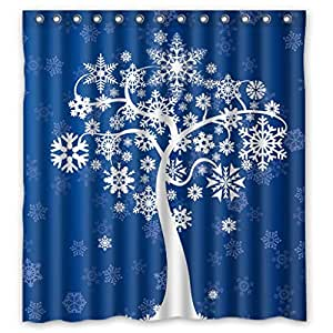 Custom design Durable Botany Love Tree Blue Design Shower curtains, (W*H) 66*72 inch / 168*183 cm, Polyester, best for relatives