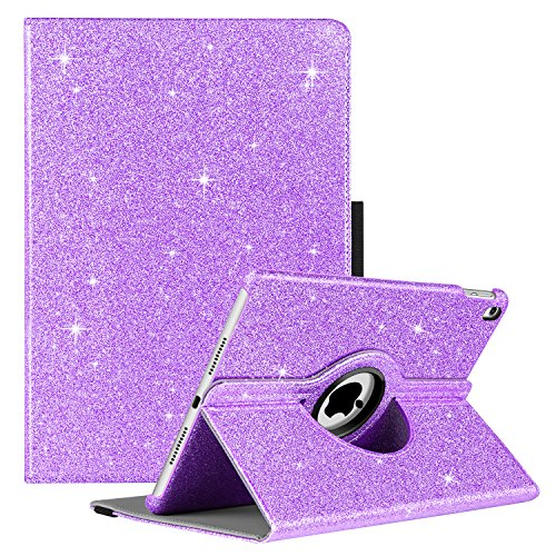 GUAGUA iPad Pro 10.5 Case 360 Degree Rotating Folio Stand Smart Auto Wake/Sleep Cover with Pencil Holder Shockproof Full Body Protective Glitter Tablet Case for Apple iPad Pro 10.5 inch(2017) Purple