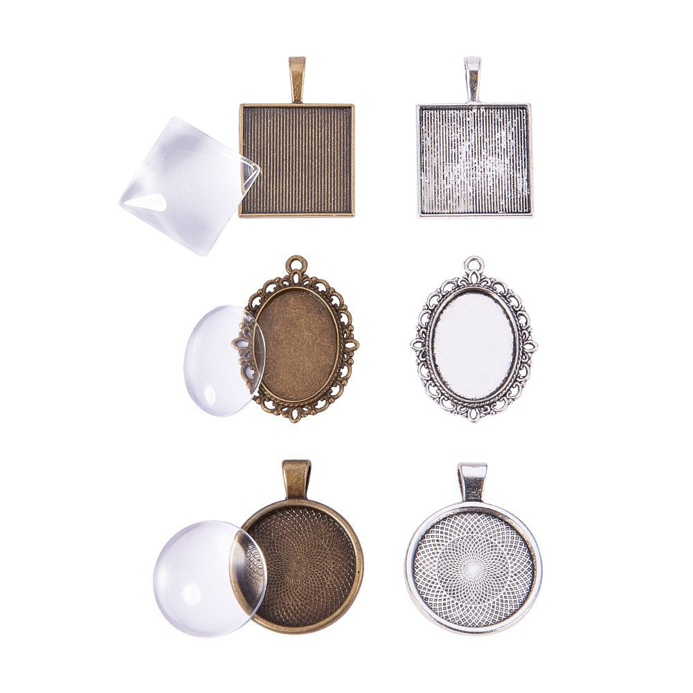 20 Pcs Silver and Bronze Pandahall Elite 2 Sizes Flat Oval Trays for Crafting DIY Jewelry Making Total 40 Pieces 20 Sets with Glass Cabochon Dome Tiles Clear Cameo 20 Pcs