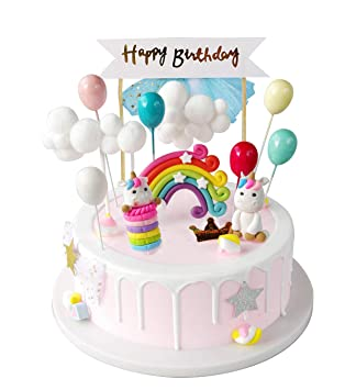 iZoeL Unicorn Cake Topper Kit Cloud Rainbow Balloon Happy Birthday Banner  Cake Decoration Pack of 12 For Boys Girls Kids Birthday