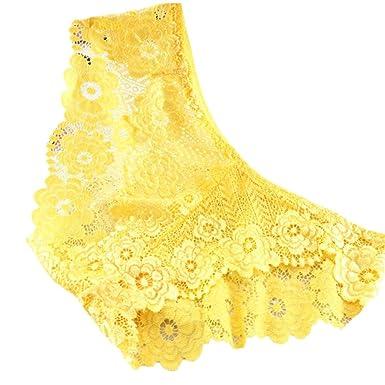 490077cc49 DOGZI Lencería Ropa Interior Mujer Tanga Bragas Bragas Sexy Pantalones de  Palabra de Encaje de la Tanga Escritos de Las Señoras (Amarillo)   Amazon.es  Ropa ...