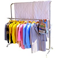 Hershii Rolling Clothes Drying Rack Expandable Metal Double Rail Heavy Duty Laundry Garment Hanger Stand Adjustable for…