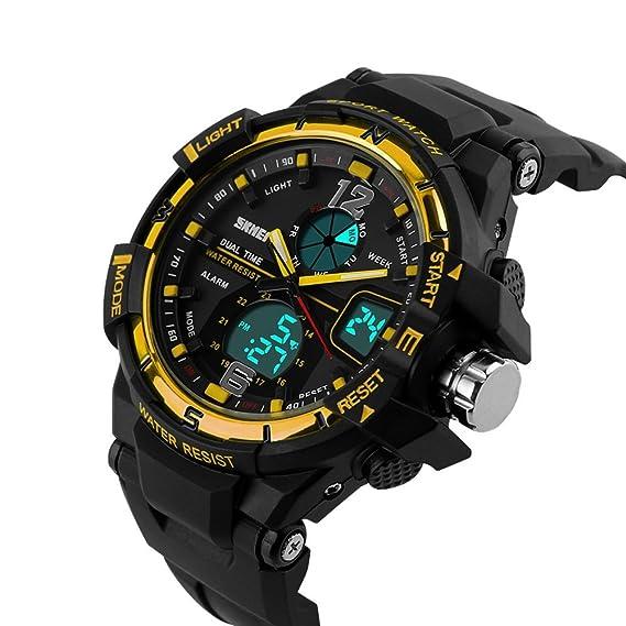 VOEONS 1148 - Reloj de pulsera hombre, resina, color amarillo: Amazon.es: Relojes