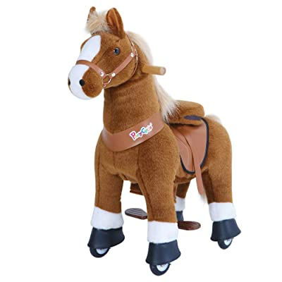 PonyCycle Official Classic U Series Ride on Horse Toy Plush Walking Animal Brown Horse Small Size for Age 3-5 U324: Toys & Games