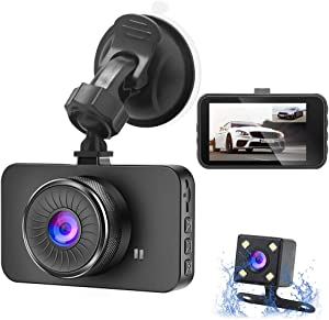 """Dual Dash Cam Bositvi Dash Camera Front and Rear, Full HD 3"""" IPS Screen Dashboard Camera, 170°Wide Angle and Rear Camera with Night Vision Driving Recorder, Motion Detection G-Sensor Loop Recording"""