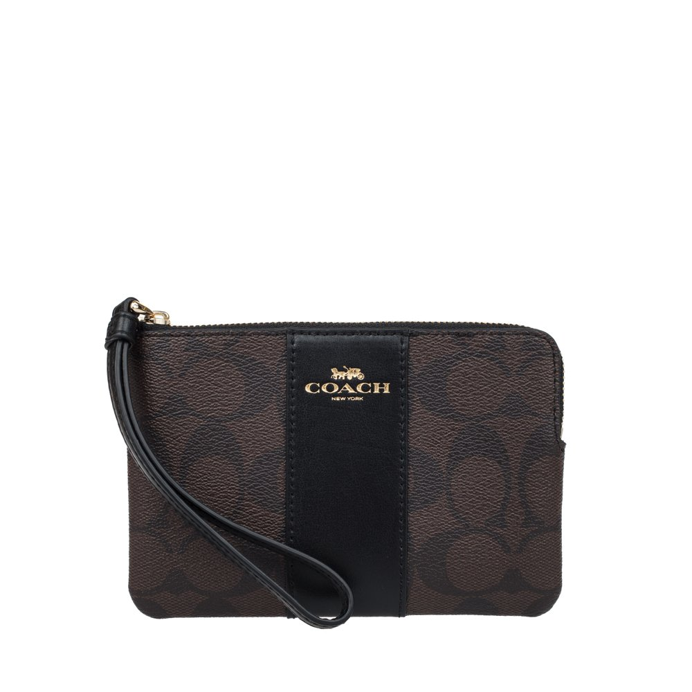 Coach F58035 Corner Zip Wristlet in Signature Coated Canvas Brown Black 00_TDMOFVSI_02