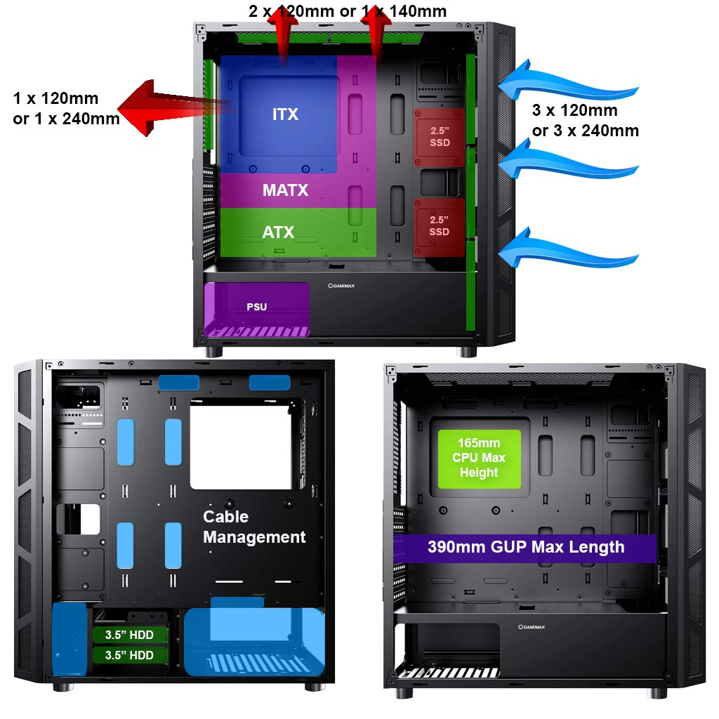 Mid-Tower Full Tempered Glass Side Panel Included Negro ATX Game Max Kage ARGB PC Gaming Case Water-Cooling Ready Mobo Sync ARGB Hub Incluido