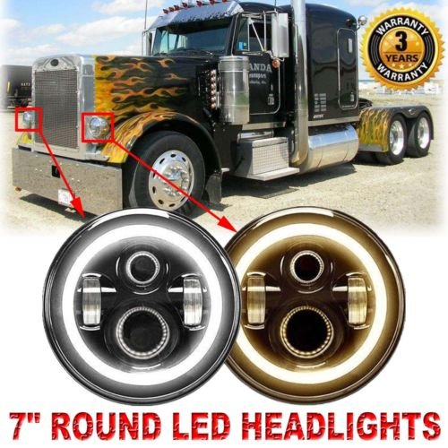 H6024 Round LED Headlights For Peterbilt 379 (1988 to 2009) 359 (1981 to 1987), 2PCS 7 Inch Super Bright High Low DRL Beam 6000K White Conversion (Peterbilt 379)