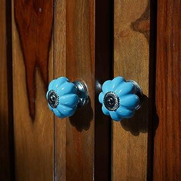 Casa Decor Pack Of 6 Ceramic Pumpkin Decorative Antique Door Knobs Pulls For Cabinet Girls Dresser Kids Cupboard Kitchen Drawer Handles With Hardware Attached Turquoise Amazon In Home Improvement