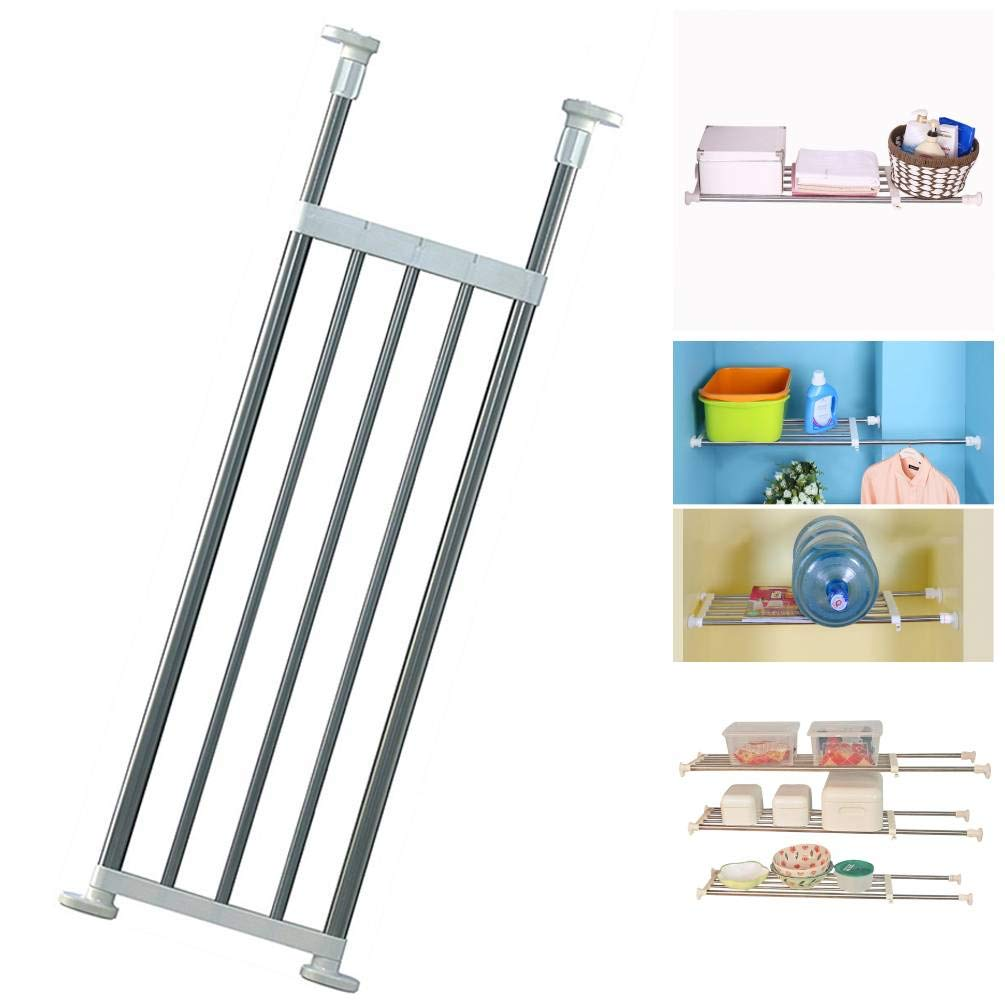 Baoyouni Tension Closet Organizer Shelf Adjustable Storage Rack Heavy Duty Clothes Hanger Rod Metal Space Saver for Bathroom Kitchen Cupboard Wardrobe Bookshelf, 32''-46'', Ivory
