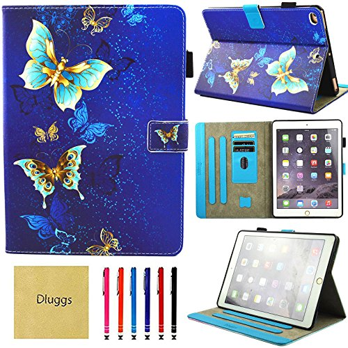 New iPad 2017 Case, iPad Air 2 Case, iPad Air Case, Dluggs Slim Fit PU Leather Folio Smart Stand Case Cover with Auto Sleep/Wake Function for Apple iPad 9.7 2017 Model/ iPad Air 1 2, Gold Butterfly