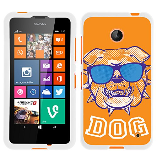 Nokia Lumia 635 White Phone Case, Perfect Fit Cell Phone Case Hard Protector Cool Designs Collection by Miniturtle - Orange Bulldog