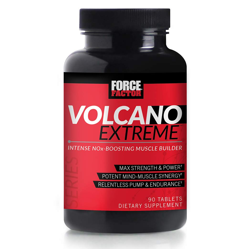 Volcano Extreme Pre-Workout Nitric Oxide Booster with NItrosigine, L-Citrulline, and CON-CRĒT for Muscle Pumps, Strength, Focus, Force Factor, 90ct by Force Factor