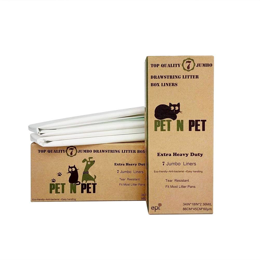 PET N PET 14 Counts 2 Packs Extra Heavy Duty Cat Litter Box Liners Anti-Microbial X large Size
