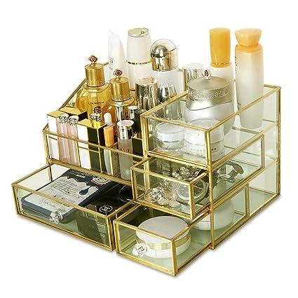 Vidrio Maquillaje Organizador Caja de Almacenamiento de ...