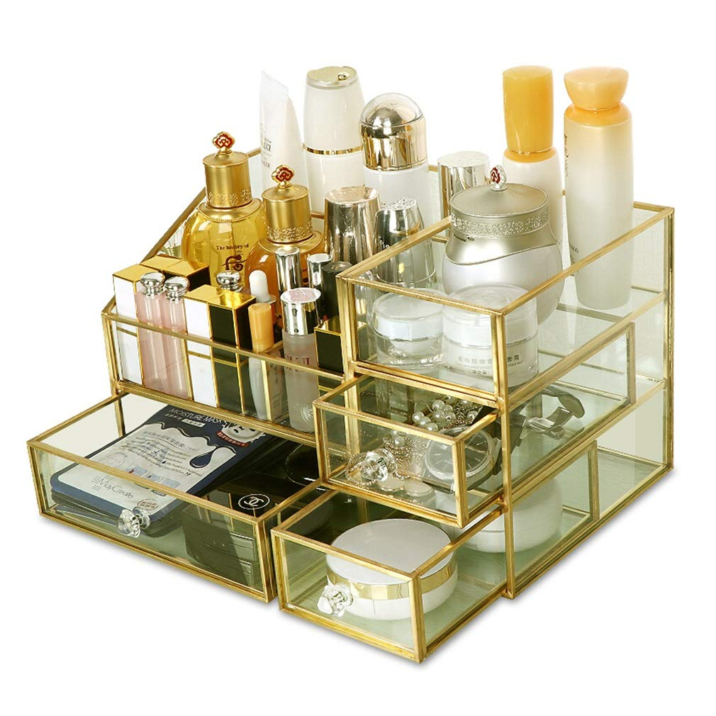 Glass Make Up Organiser Clear Cosmetic Storage Box Display Makeup Case for Palette Brush Foundations Lipstick Nail Polish Hairpins, Great Gift