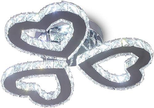 Modern 3 Heart Rings Crystal Chandelier Ceiling Light Fixture LED Pendant Lamp