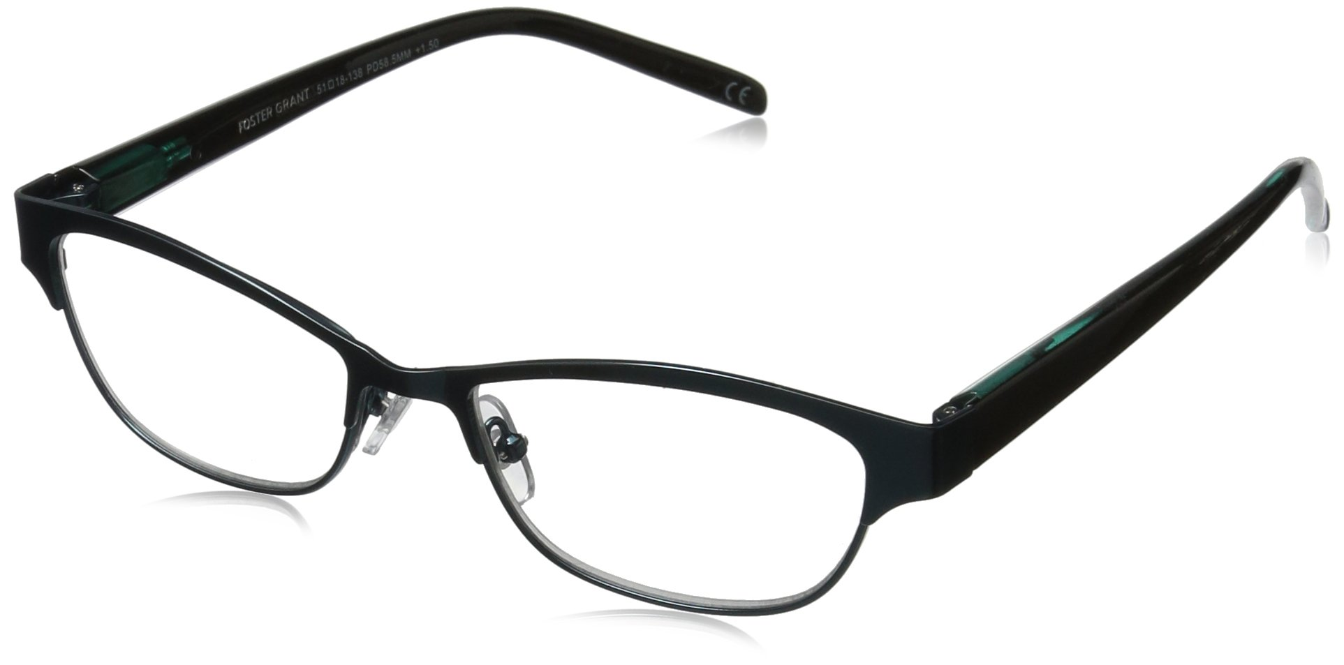 Foster Grant Women's Sage 1017559-125.COM Cateye Reading Glasses, Teal, 1.25